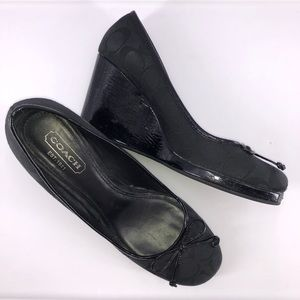 Coach Women's Size 9 Black Wedge Heels